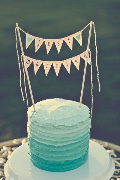 Ombre cake with banner topper