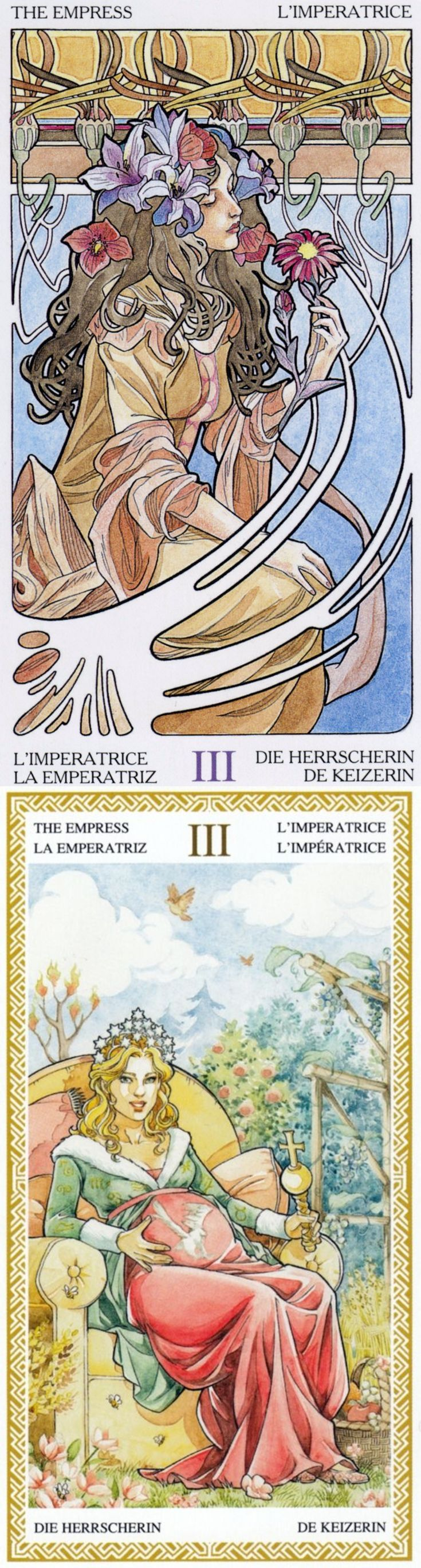 THE EMPRESS: earth/nature and needing to let go (reverse). Art Nouveau Tarot deck and Loscarabeo Tarot deck: psychic tarot readings, tarot and psychology vs free tarot reading uk. The best pagani zonda and tarot reading room. #wands #happyhalloween #minorarcana #strength #backtonature #androidapp