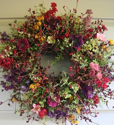 MULTICOLORED ANTIQUED FLOWER & BERRY WREATH FROM * ECHINACEA FARMS