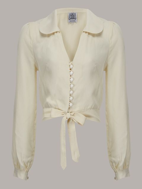 classic cream 1940s style blouse from RocknRomance.co.uk by The Seamstress of Bloomsbury  Vintage Blouses