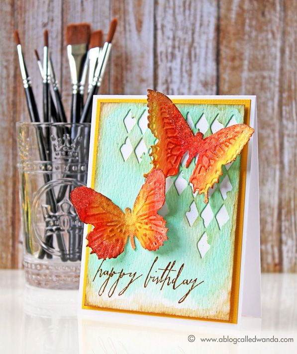 Love this card by  Wanda Guess for the Simon Says Stamp Blog using two of the new Tim Holtz Distress Colors.