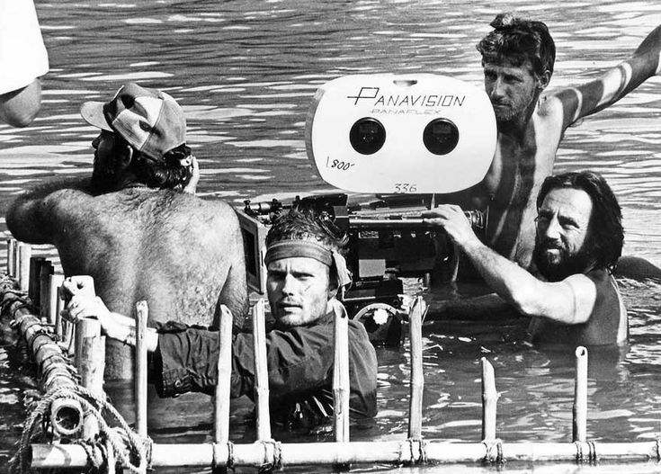 John Savage and cinematographer Vilmos Zsigmond filming THE DEER HUNTER (1978)