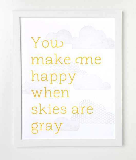 Letterpress Cloud Print You make me happy by sycamorestreetpress. $35.00, via Etsy.