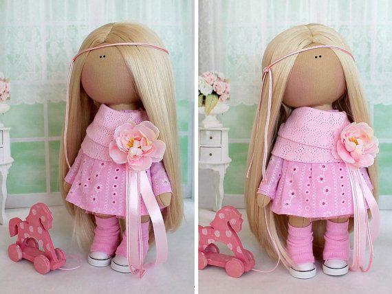 Tilda doll Textile doll Fabric doll Handmade doll Soft doll Love doll pink color Rag doll Art doll doll by Master Svetlana Tenitskaya