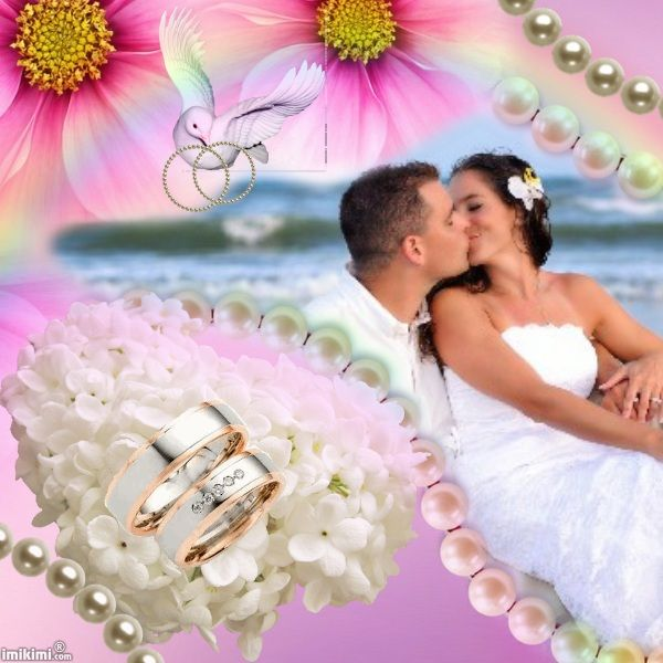 Wedding photo collage. Click to put your own photo in it. #pink #wedding #collage #pearls