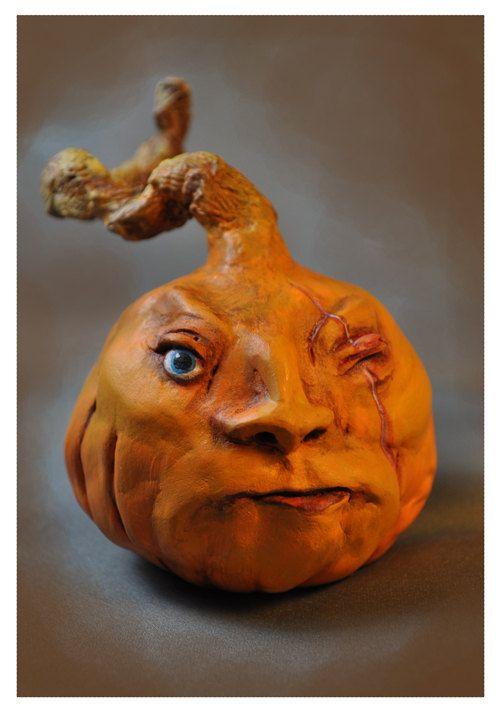 Handmade OOAK Halloween Pumpkin EHAG by Deborah Adams of Possiblimstudio, $45.00