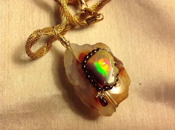14k Gold Filled Wire wrapped Ethiopian Opal by JewelryByShari, $325.00
