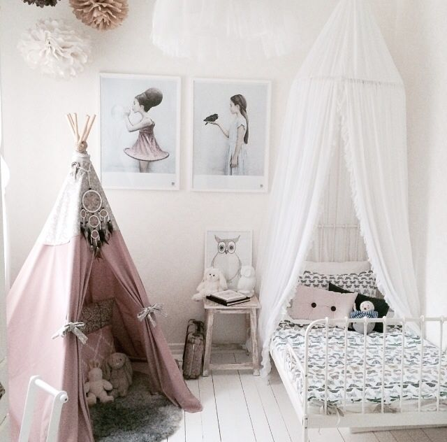 A dreamy room for a girl - love the dusky pink, white and black tones.