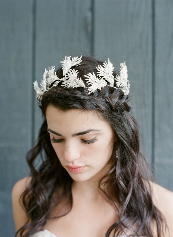 Rustic silver bridal crown