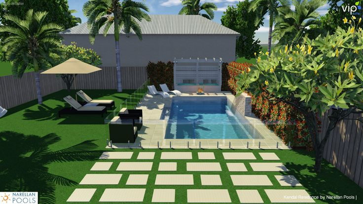 Tropical style pool & garden w/ daybed at end of pool