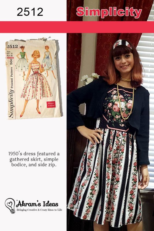 #VintagePledge2017 Simplicity 2512 1950's dress featured a gathered skirt, simple bodice and side zip, made for my artist sister Miss Z.
