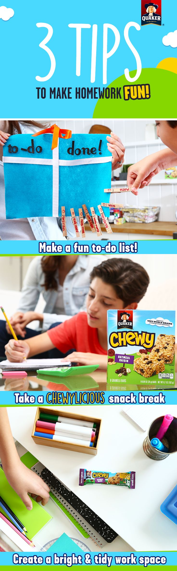 Homework can be fun! Practice these easy tips during your next study session with your kid— our favorite is to add in a snack break! Quaker® Chewy Granola Bars are made with 8g of 100% whole grains and other yummy ingredients for a delicious after school snack that moms and kids can both agree on.