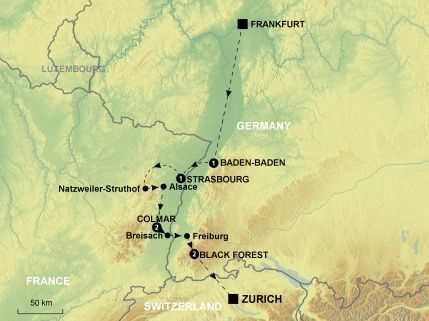 Map of Alsace & The Black Forest | 2016 Backroads