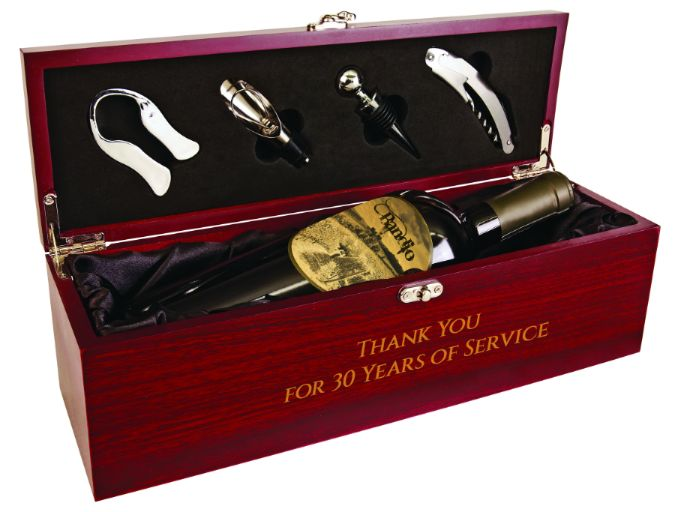Wood wine box gift set with bottle opener. Engraved for the perfect gift!