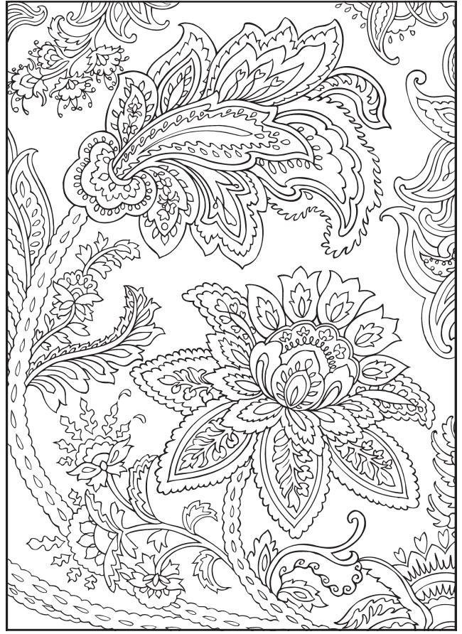 Paisley Flowers Abstract Doodle Coloring pages colouring adult detailed advanced printable Kleuren voor volwassenen Welcome to Dover Publications