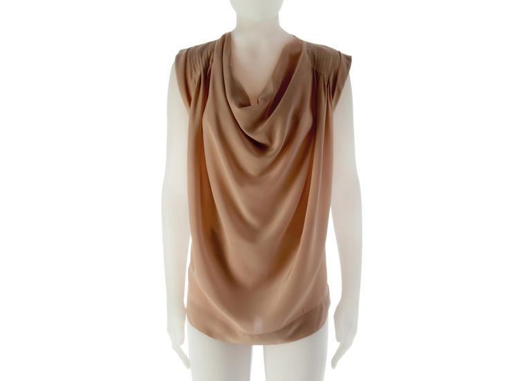 Top in silk with draped neckline.