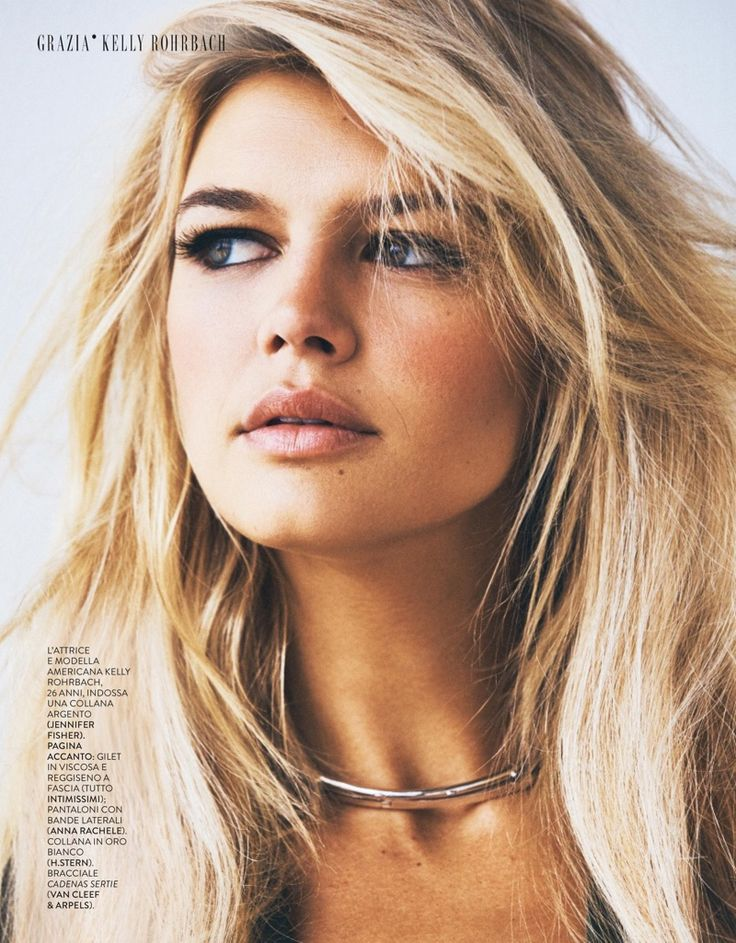 Model and actress Kelly Rohrbach gets her closeup for Grazia Italy magazine July 2016