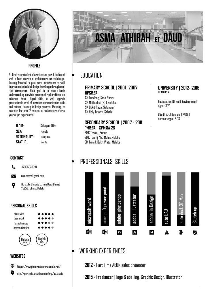 Architecture Resume Black And White Theme Architecture Resume Graphic Design Resume Interior Design Student