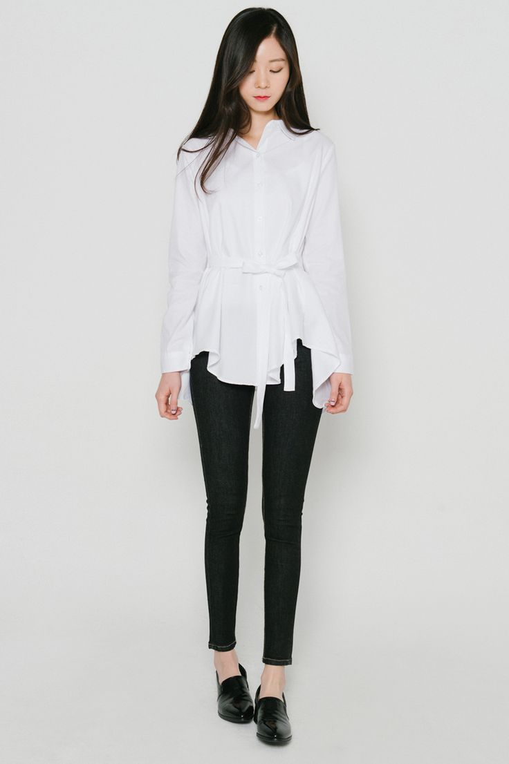 #mixxmix Handkerchief Hem Belted Blouse - Perfect for a casual date night, this blouse is stunning but reserved. #mxm #hideandseek #has #365basic #model #item #girlsfashion #womenfashion #koreangirls #koreanfashion #streetfashion #twins #couple #daily #outfit #styling #casual #lovely #unique #basic #young #stylish