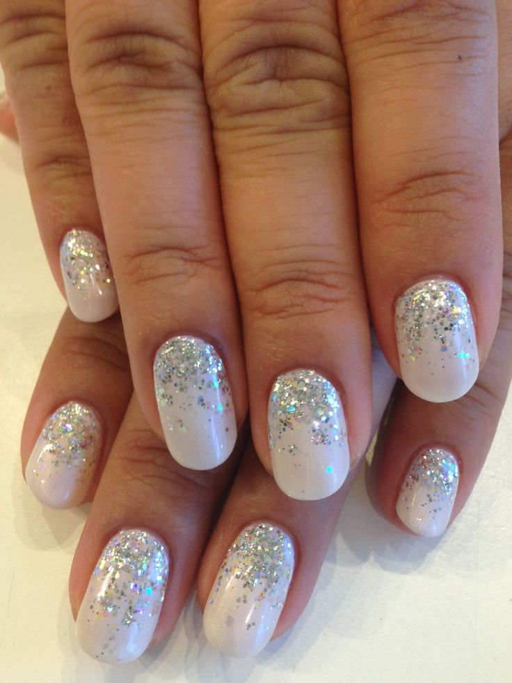 Bio Sculpture Gel colour: #163 - Angel White (Elegant Bride Collection) with silver glitter