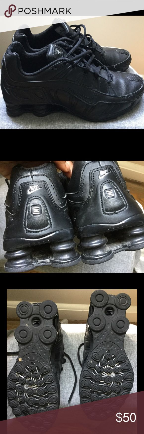 All Black Nike Shox Barely worn Nike Shox in black on black Nike Shoes Athletic Shoes