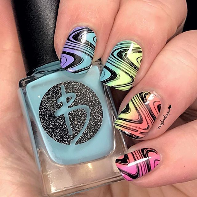 """WEBSTA @ traceyloveslacquer - The mani prompt over at the Bliss'd Out Babes FB group is Skittles so I took the opportunity to do some gradients.  Here's (from index to pinky) @blisspolish Violet, Seaglass, Mint, Peony and Strawberry stamped with @pipedreampolish Atrament and a watermarble """"ish"""" design found on @linanailartsupplies Make Your Mark 03.  It's bright and fun and took forever to do but it was totally worth it. I hope you guys like it. #bliss #blissues #blisspolish…"""
