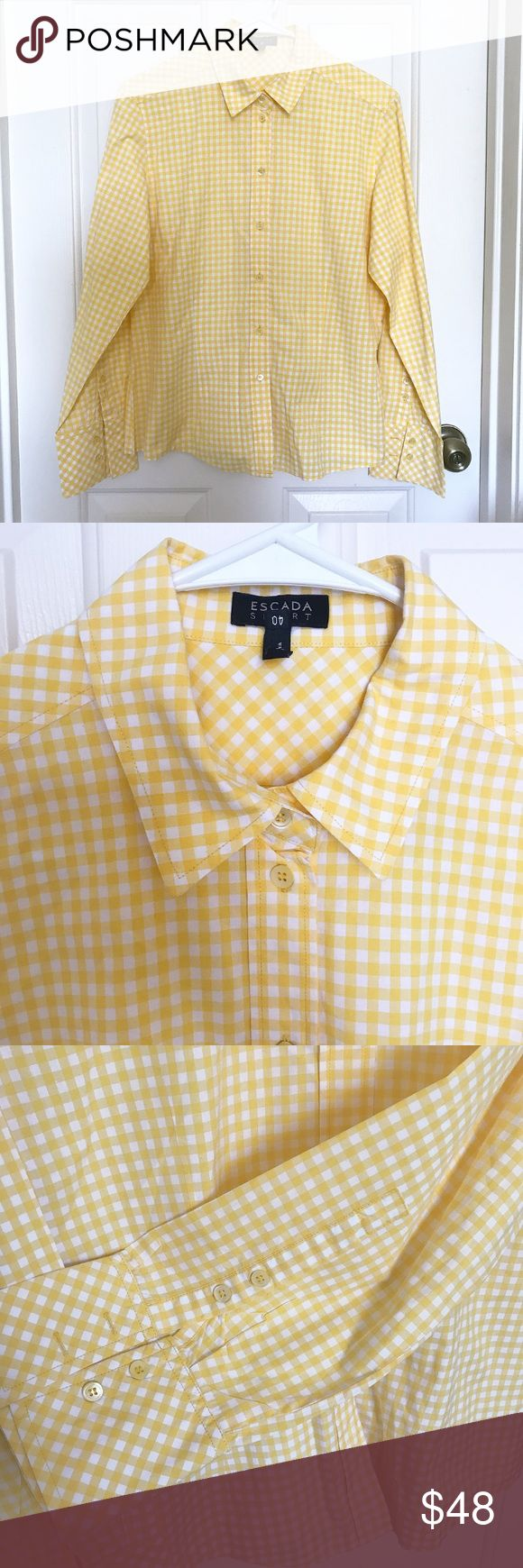 Escada Sport women's shirts Escada sports women's shirts / size : 40 (us6-8) / new without tag / in excellent condition / color : yellow & white Escada Tops Button Down Shirts