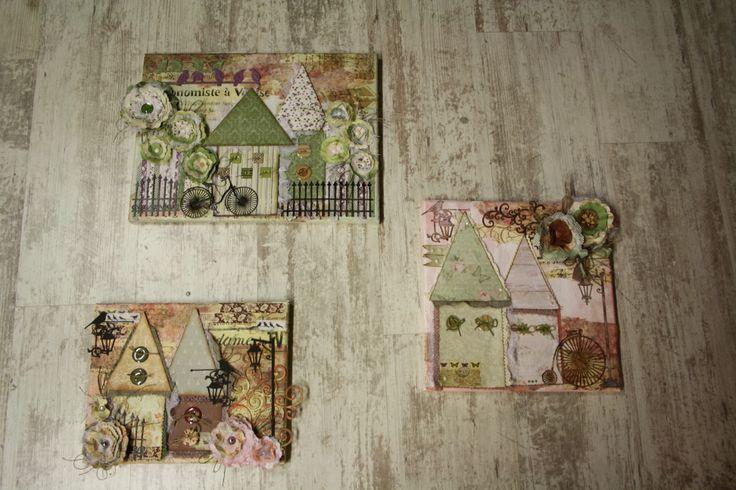 Canvas trio with decoscrap~Καμβάδες με decoscrap