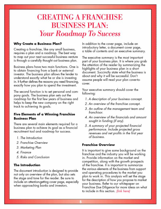 Business plan franchise company resume examples for a job free