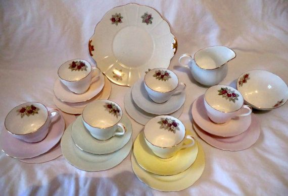 Vintage HARLEQUIN pastel Tea Set. Signed by PrettyVintageHome