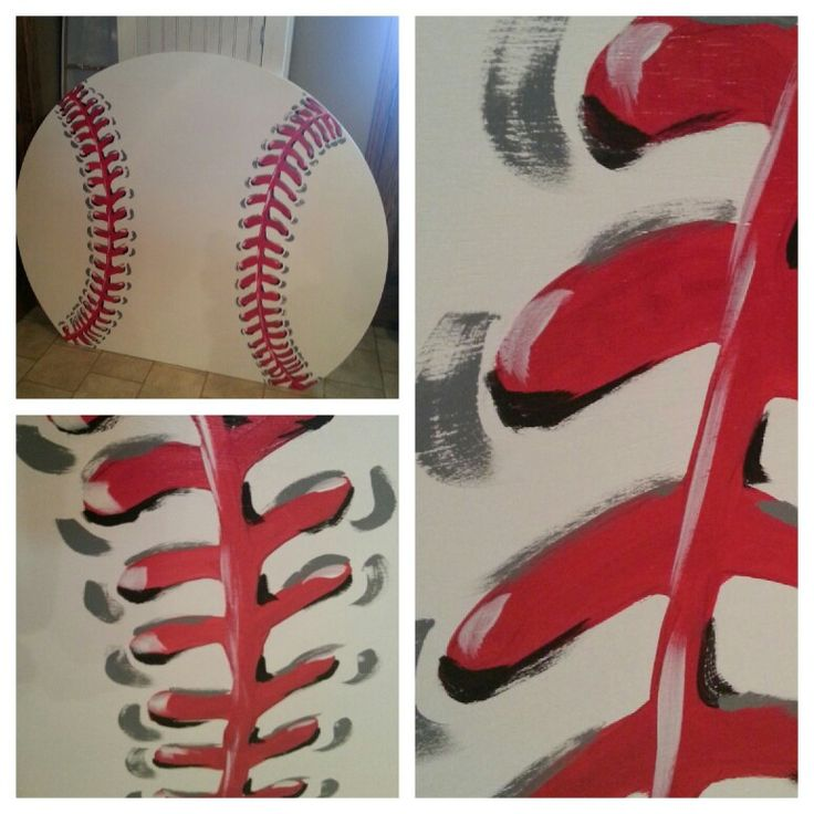 Baseball headboard painted by Kristin Huke