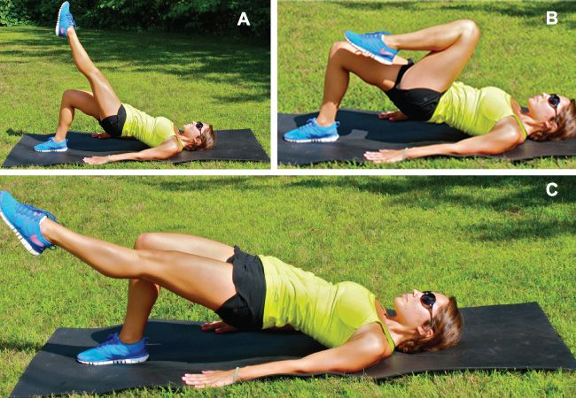 Hip thrust with leg extension. Tighten up those #glutes with this exercise from AJ Govoni. #fitness