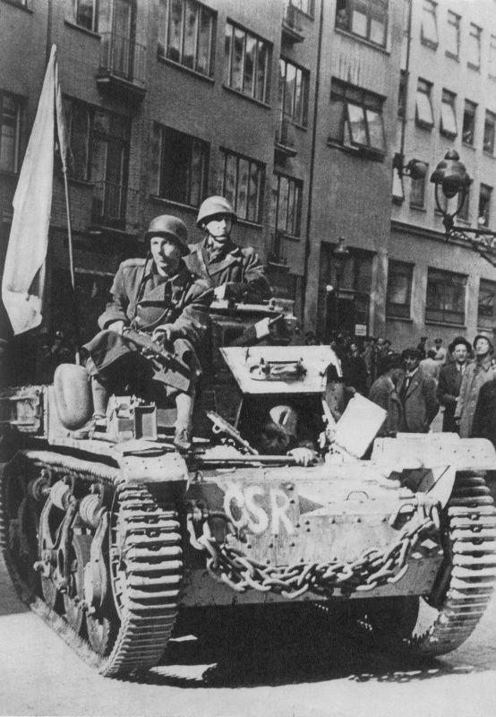 Prague rebels on the tank AMR 35ZT French production. German designation of the captured tank - PrSpWg.VM 701 (f).