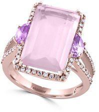 Effy 14K Rose Gold, Rose Quartz, Pink Amethyst and Diamond Ring, 0.32 TCW