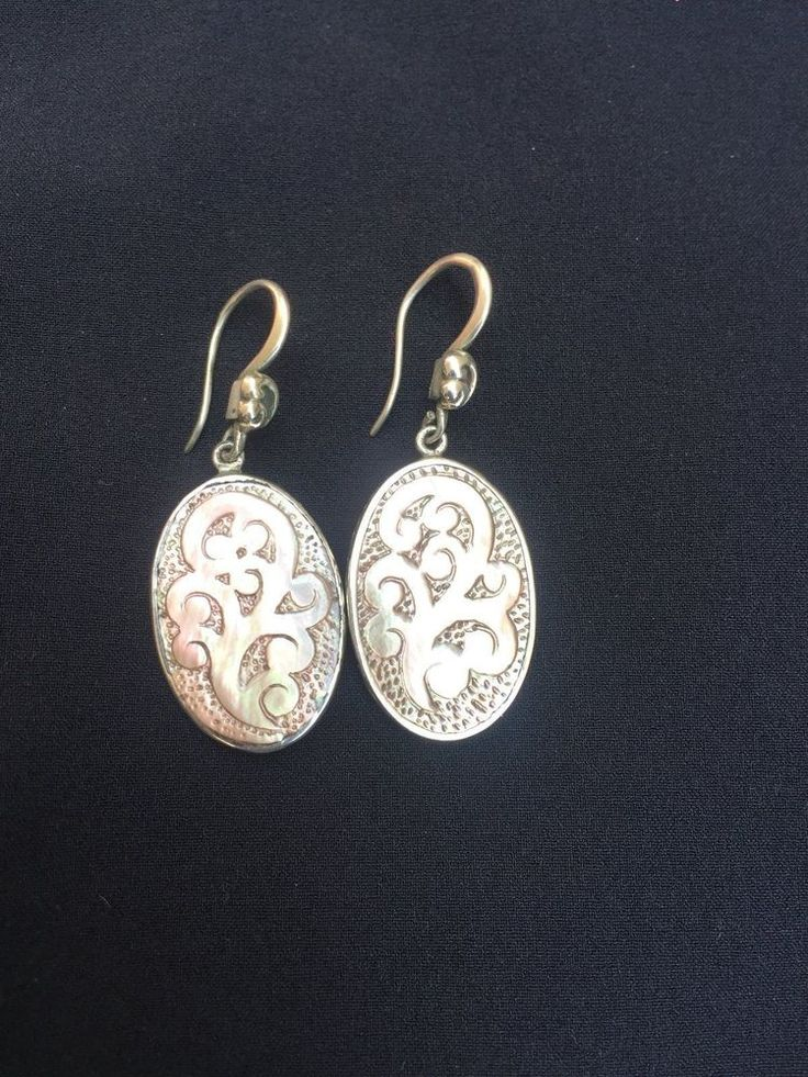 Lois Hill Sterling Silver Earrings with Carved Mother of Pearl Design #LoisHill