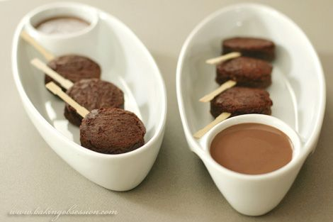 Brownie Lollipops with Milk Chocolate and Caramel Sauces    http://www.bakingobsession.com/2008/05/21/brownie-lollipops-with-milk-chocolate-and-caramel-sauces/