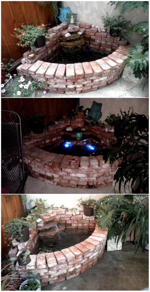 DIY Yard Brick Projects -Brick Waterfall