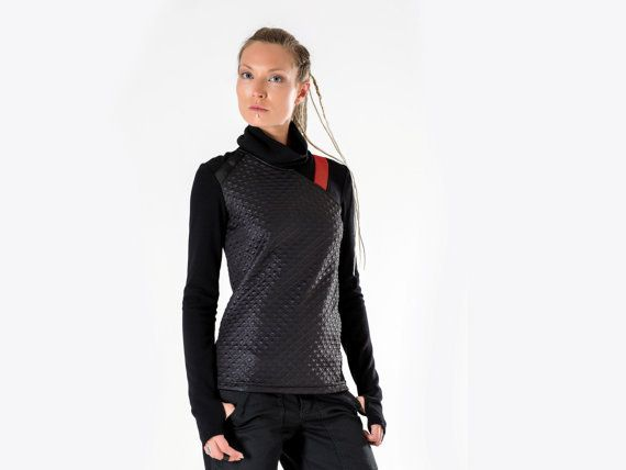 Cyberpunk sweater sci-fi pullover long sleeves thumb holes. Edgy and unique design inspired by Sci Fi. This jumper is so comfortable you will want to live inside. Not only sleeves have thumbholes, but also the cuff is made narrow so it would hug the arms while thumbholes are used and didnt slip down if you put sleeves in the regular mode.  All sizes are given in the last picture. Mens version of this sweater - https://www.etsy.com/listing/216043238  KEY FEATURES  – Back looks as cool as…