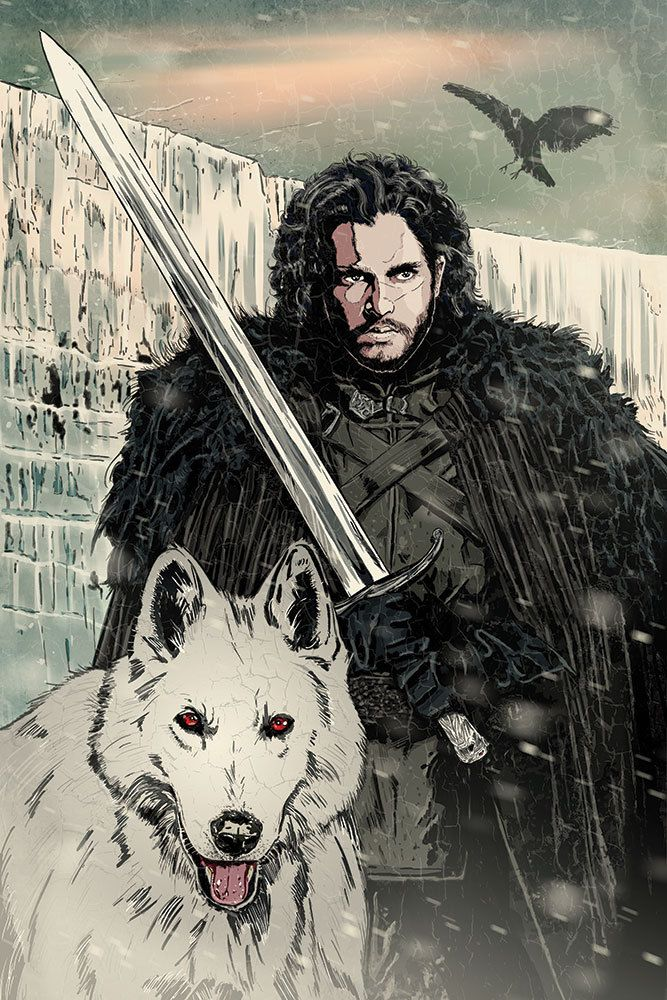 Game of Thrones Jon Snow original art print signed by artist Michael Champion by EpicStudios on Etsy