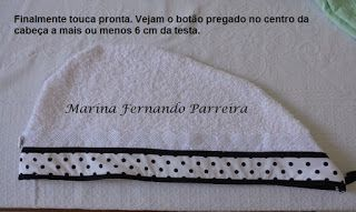 Marina Fazendo Arte: Touca de banho