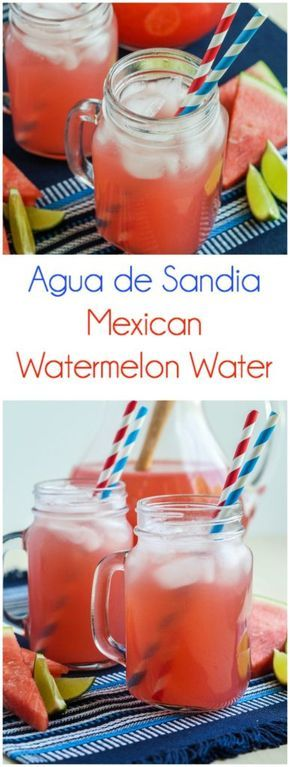 Agua de Sandia (Mexican Watermelon Water)  #july4 #july4th #aguafresca #agua #sandia #watermelon #water #beverage #drink #mexican #mexico #summer