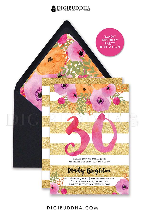 30th Birthday Party Gold Glitter Stripes Invitation With Pink Watercolor Flowers Digibuddha Invitations