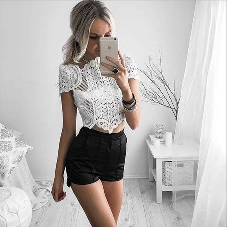 US $13.24 Blusas Femininas 2016 Summer Women Shirts Lace Vintage Short sleeve White Renda Crochet Casual short Shirts Tops #Blusas #Femininas #2016 #Summer #Women #Shirts #Lace #Vintage #Short #sleeve #White #Renda #Crochet #Casual #short #Tops