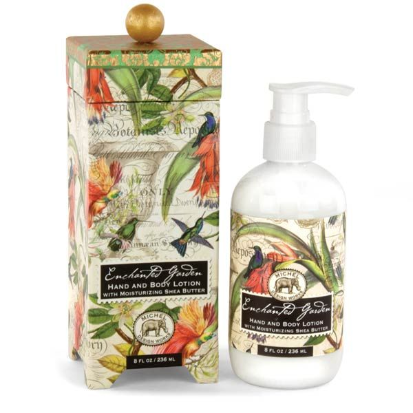 Michel Design Works Lotion Hand & Body - Enchanted Garden. Shea butter, aloe, and other botanical ingredients make this silky, luxurious lotion perfect for even the driest skin. Beautifully packaged in a keepsake gift box.  Scent: Romantic Floral