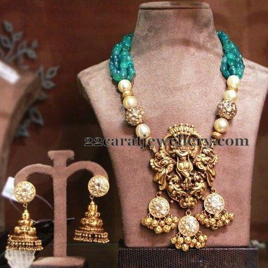 Jewellery Designs: Emerald Beads Set Krishna Pendant