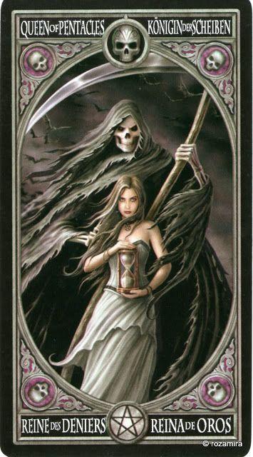 La reine d'écus - Tarot gothique par Anne Stokes