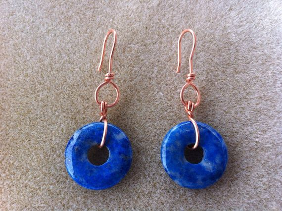 Copper and Sodalite Donut earrings by SonchyenneBoutique on Etsy, $30.00