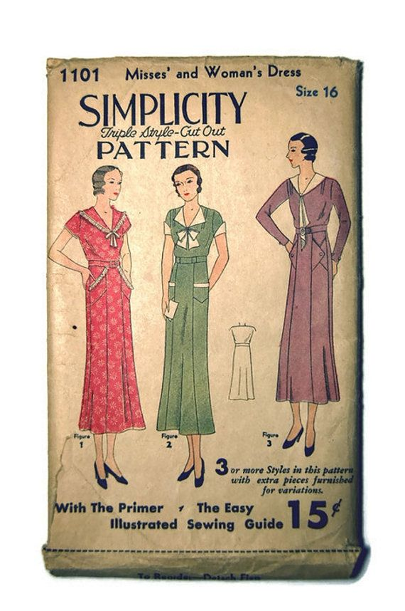 Vintage 1920's-1930's Simplicity Misses' and Women's by SewSymple