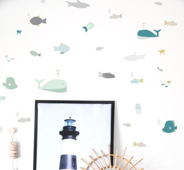 Wall Decal - Under the Sea - Nautical Wall Decal - Muted - Wall Sticker - Room Decor