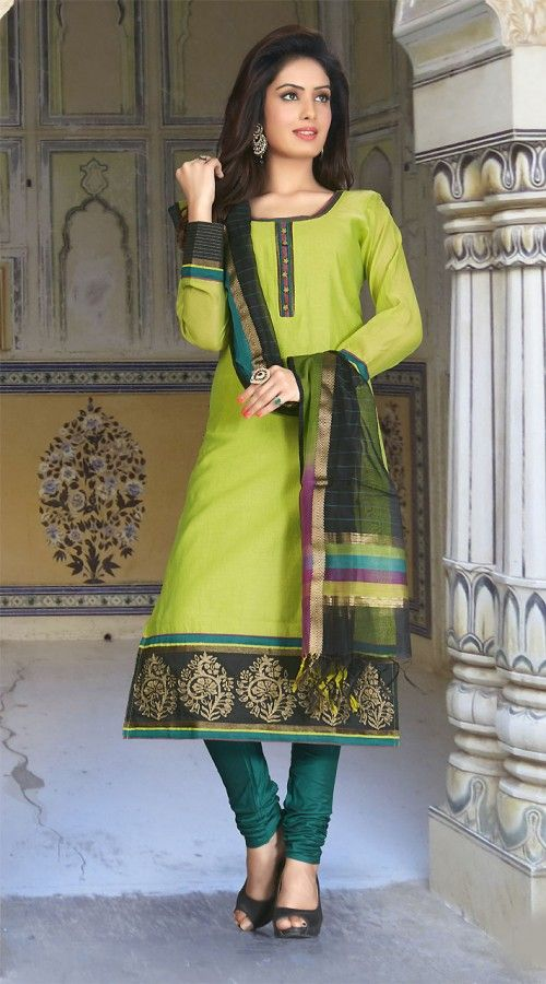 Stunning Light Green Readymade Long Churidar Kameez With Dupatta WVF479 Fabolus light green art silk long churidar kameez which is exclusively made with kasab work. This attire comes with matching bottom and dupatta. This readymade suit has maximum bust size of 34 to 42 inches